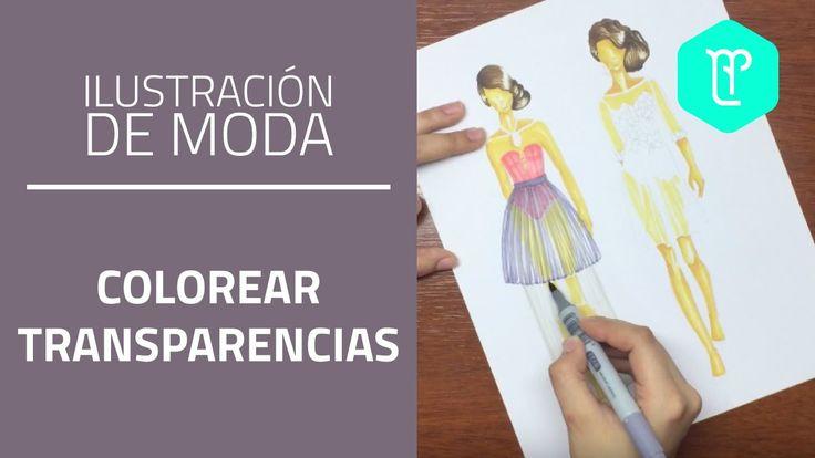 Cómo colorear transparencias con plumones en figurines de moda