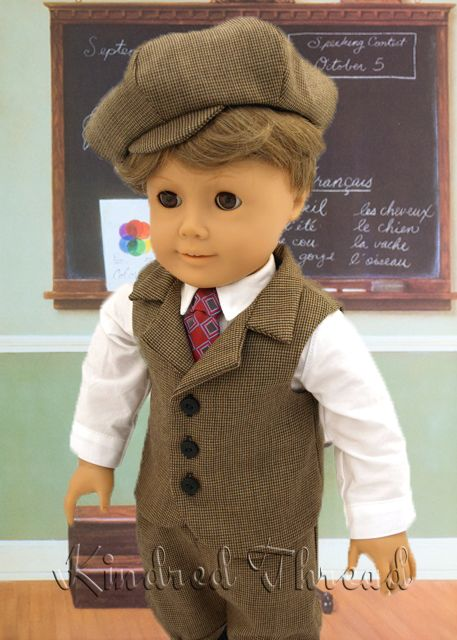 boy s knicker suit with newsboy cap american girl doll