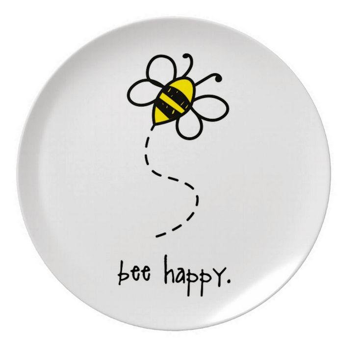 "bee happy. 8"" melamine plate."