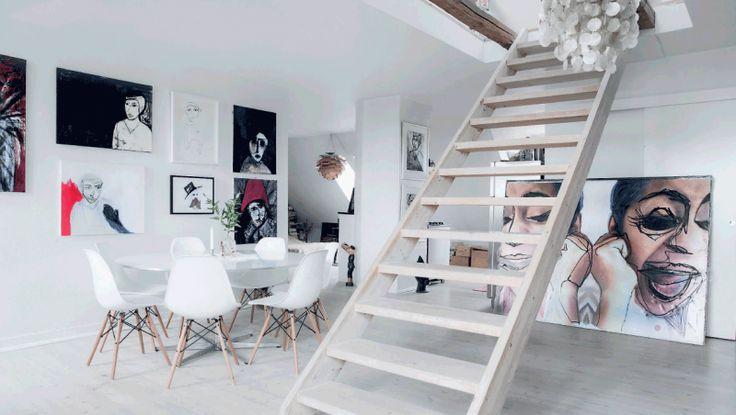 spisestue + kunst + trappe + eva lajka  // nordic living + art + dining room + stairs + scandinavian home