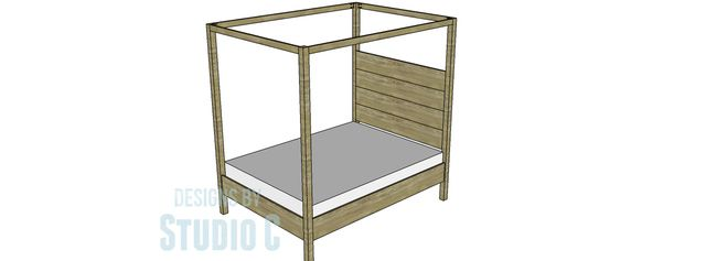 Build your own furniture with these 8 easy to build plans.: DIY Queen Canopy Bed Frame