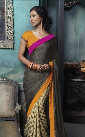 beige and Black Colour Brasso and Jacquard Crepe Material Casual Sarees :