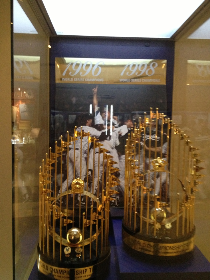 Championship trophies on display at the museum at Yankee stadium.