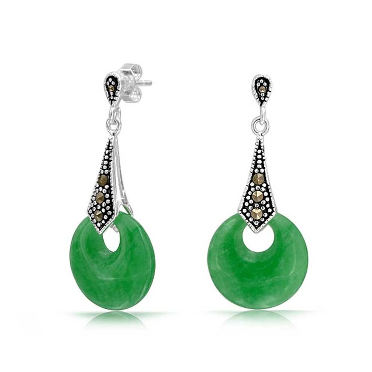 Bling Jewelry 925 Sterling Silver Marcasite Green Jade Dangle Earrings: