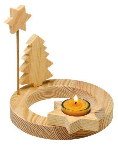 """Adventskranz """"Single"""" aus massivem Holz, mit Teelicht"""