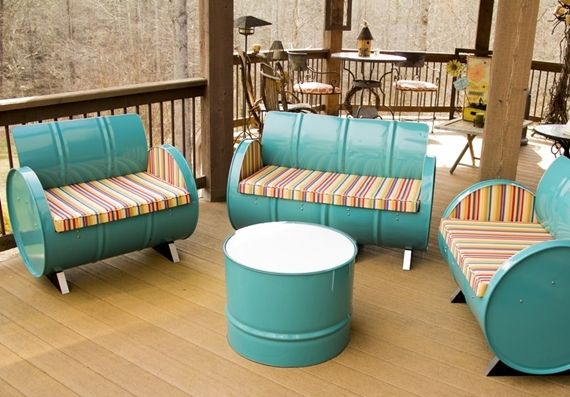 These Awesome Looking Armchairs And Couches Are Made From Steel Drums
