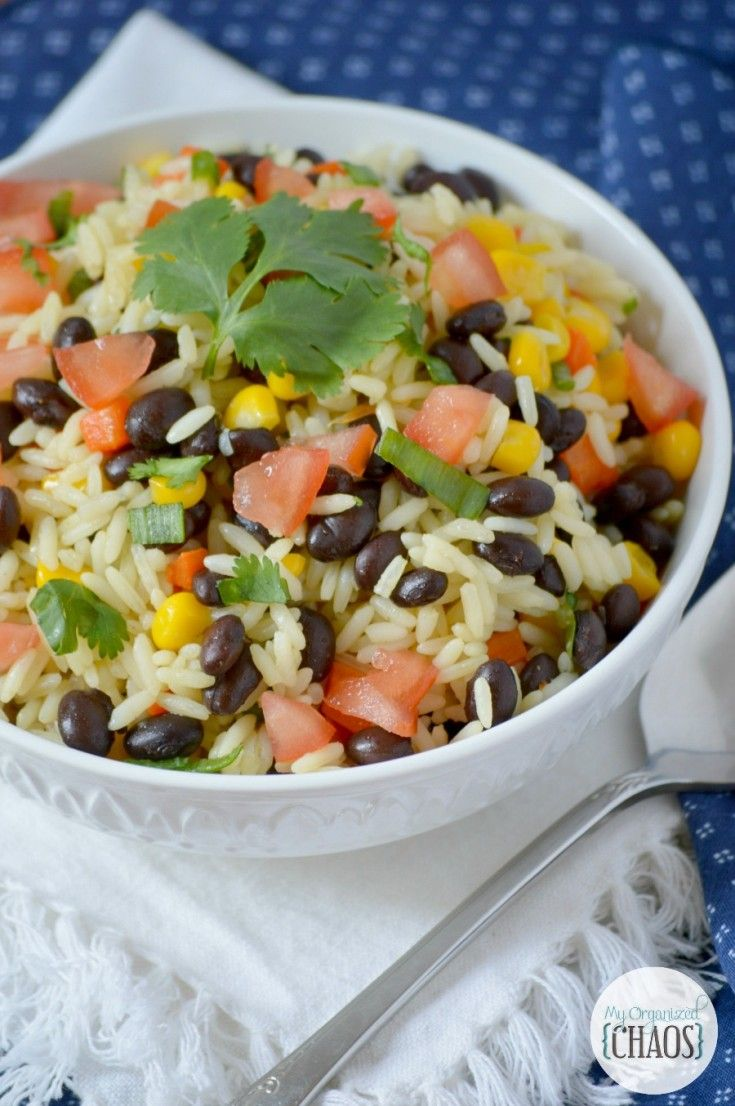 Fiesta Rice, Mexican side dish recipe with jasmine, tomatoes, corn, cilantro, lime and black beans. Canadian lifestyle blogger