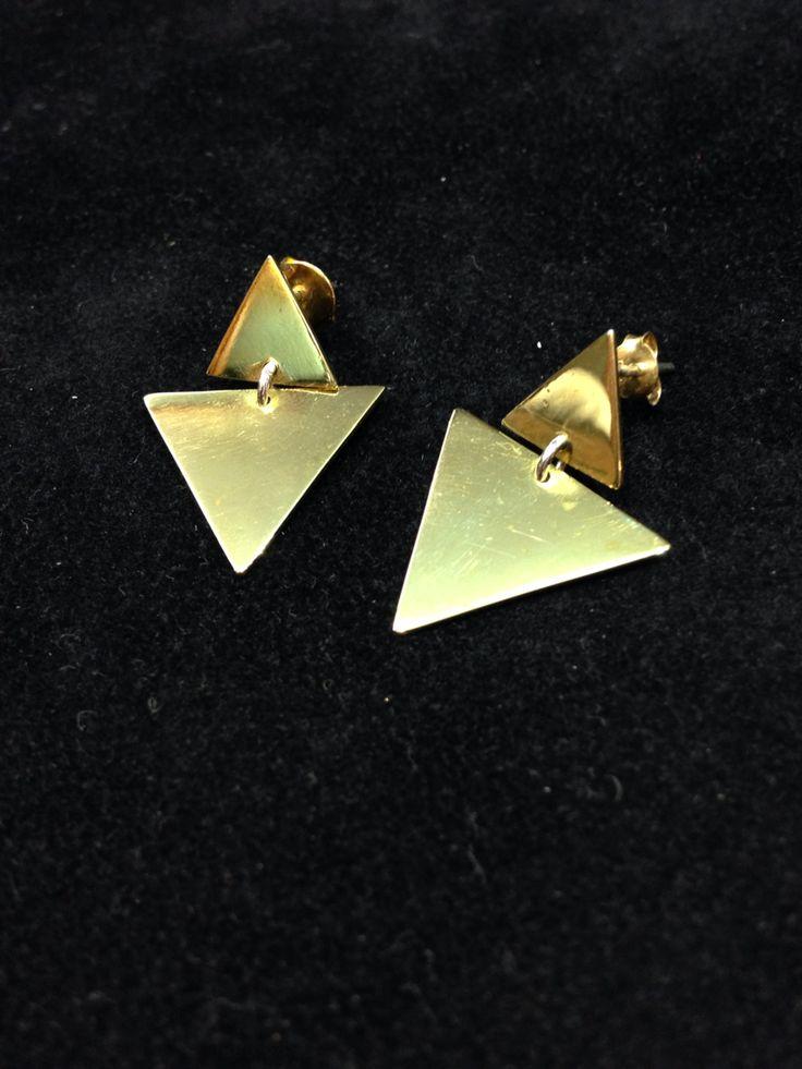 Orecchini Triangoli Pendenti Ottone