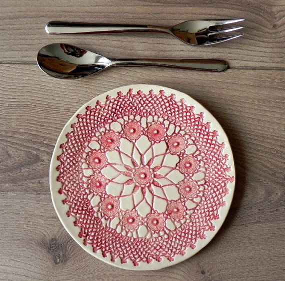 Rustic Ceramic Plate Red Lace Dessert Plate Unique Serving