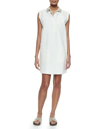 Sleeveless Glitter-Collar Shirtdress, White by Brunello Cucinelli at Neiman Marcus.