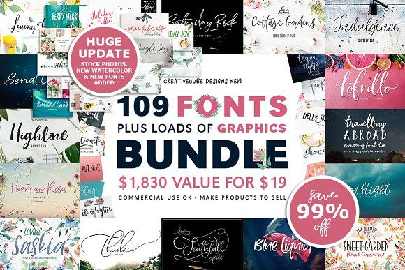 109 Fonts & Graphics Bundle SALE by Creativeqube Design on @creativemarket