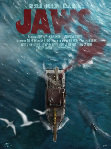"""jaws"", an amazing movie and this amazing movie poster with grand detail, responsible finish of the water and waves, and also how it is displayed from above the boat and the deep."