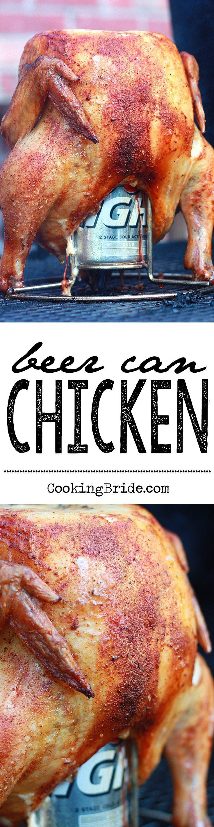 Tender and juicy beer can chicken recipe is seasoned with a blend of Cajun-inspired herbs and spices. Serve with drippings for maximum flavor. #Chicken #Grilling