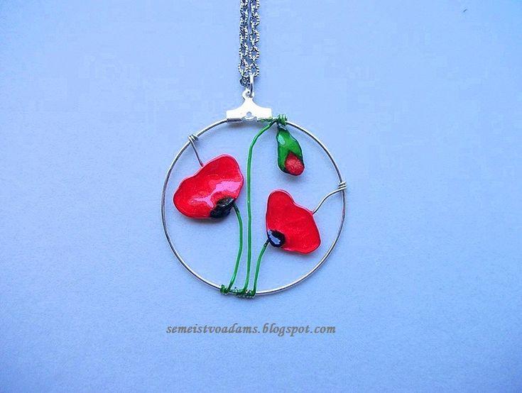 Wire poppies pendant with nail polish by semeistvoadams.blogspot.com