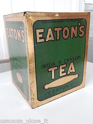 RARE ANTIQUE LARGE 10 LB TEA TIN LITHO STORE BIN T.EATON CO. TORONTO VINTAGE