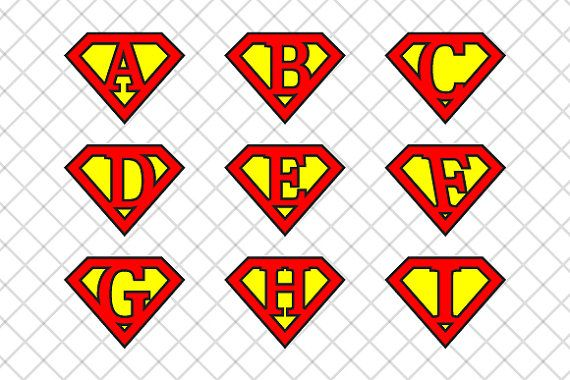 Alphabet letters in Superman logo style.  26 letters available in:  - transparent png 5000x5000 pixels at 300dpi;  - jpg 5000x5000 pixels at 300 dpi;  - eps cs4 vector layered (26 layers one for each letter)  - ai cs4 vector layered (26 layers one for each letter)