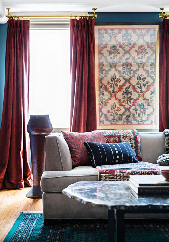 Living Room With Teal Blue Walls And Dark Red Velvet Curtains Gold Accents Navy Pillow Apple Red Bro Red Curtains Living Room Burgundy Room Living Room Red