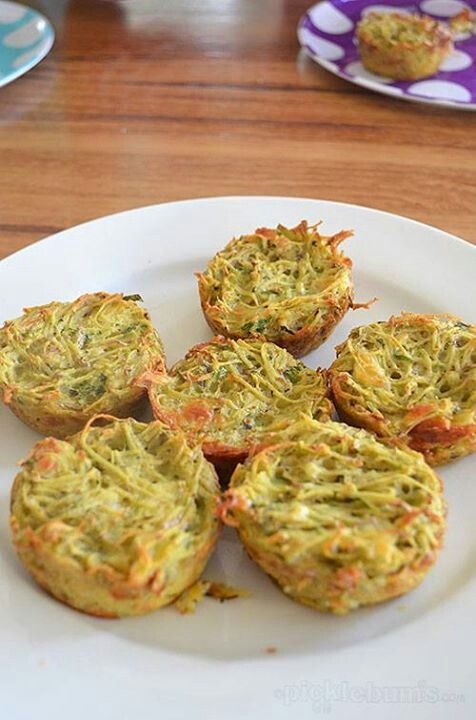 Leek &  Potato Cakes 6 medium potatoes *1 leek * herbs – mint, thyme, sage & chives* 1 clove of garlic*3 eggs * ½ cup grated cheese Preheat oven to 350 & grease a muffin pan well. Use the food processor or finely chops the leek, herbs & garlic.  Grate potatos & combine with the leek & herbs in a large bowl. Add the eggs & cheese & mix well. Season w/salt & pepper. Spoon the mixture into the muffin pan, filling each space half to ¾ full. Bake for 30-40 minutes or until the top is golden…