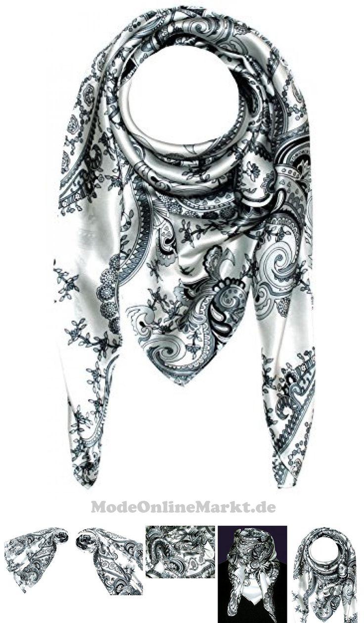#LORENZO #CANA # #8211 #Damentuch #100 #Seide # #8211 #Barock #Muster #Seidentuch #schwarz #silber #weiss #Tuch #100 #x #100 #cm # #8211 #89005 #7649807