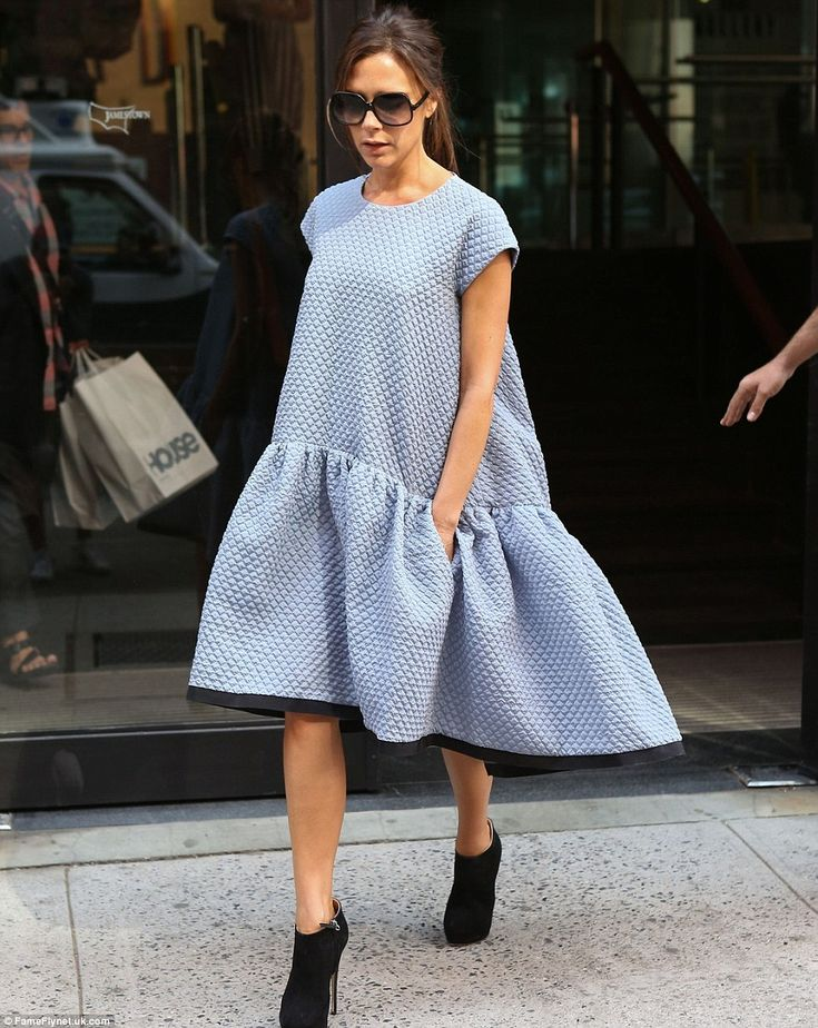 Wearing one of her own designs in 2013, she looks oddly like a giant teabag — though this shapeless dropwaister retailed at £855. Gulp!
