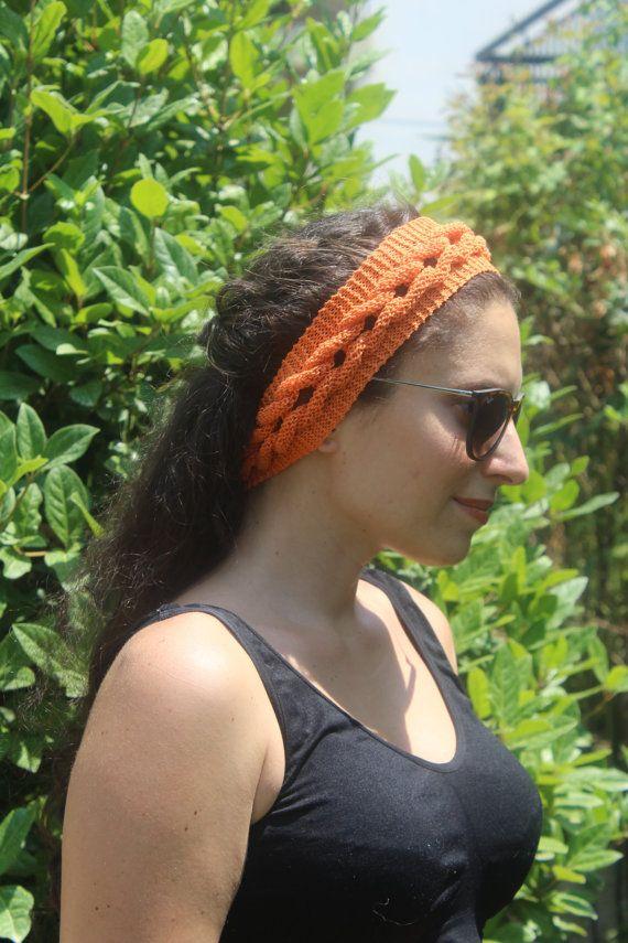 Pumpkin Orange  Headband  Summer Headband  Knit by ManibusFacta