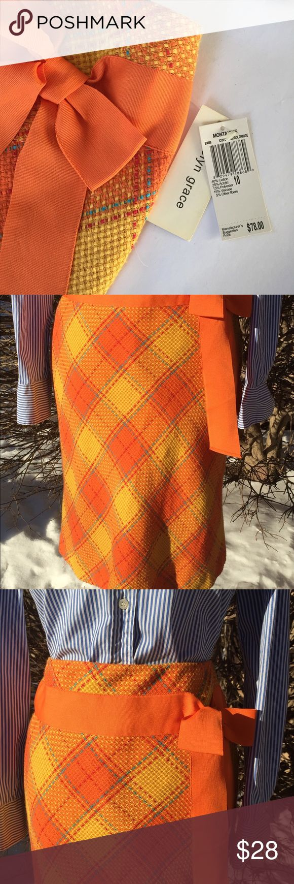 """NWT: Evelyn Grace Plaid lined pencil skirt This fabulous lined wool pencil skirt boasts a stunning plaid palette of orange, red, yellows, and blue. Side zip. The best feature is the bright orange side bow. A little quirky, a little vintage, a LOT stylish. Don't miss out on this Unique piece. Waist: 32"""", Length: 23"""". Evelyn Grace Skirts"""