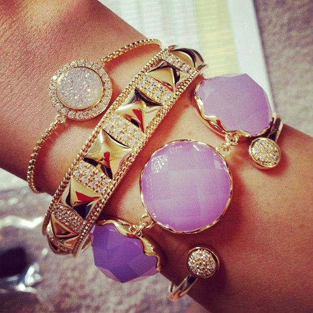 Lavender and gold: Colors Combos, Arm Candy, Gold Bracelets, Stacking Bracelets, Armcandi, Jewelry, Bangles Bracelets, Accessories, Arm Parties