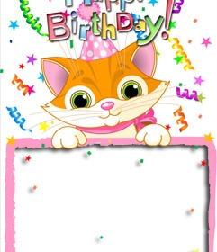 Marco de fotos en el que incluir una fotografía, que aparecerá sujeta por un #gato dibujado. Pensada para usar de tarjeta de #felicitación de #cumpleaños. www.fotoefectos.com