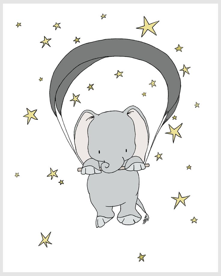 Elephant Nursery Art - Elephant Starry Night