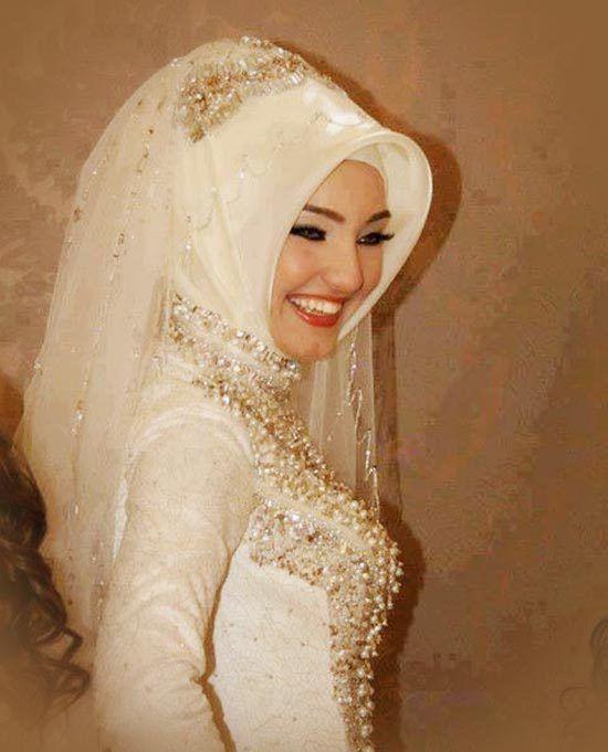 Muslim wedding hijab with veil #MuslimWedding, www.PerfectMuslimWedding.com