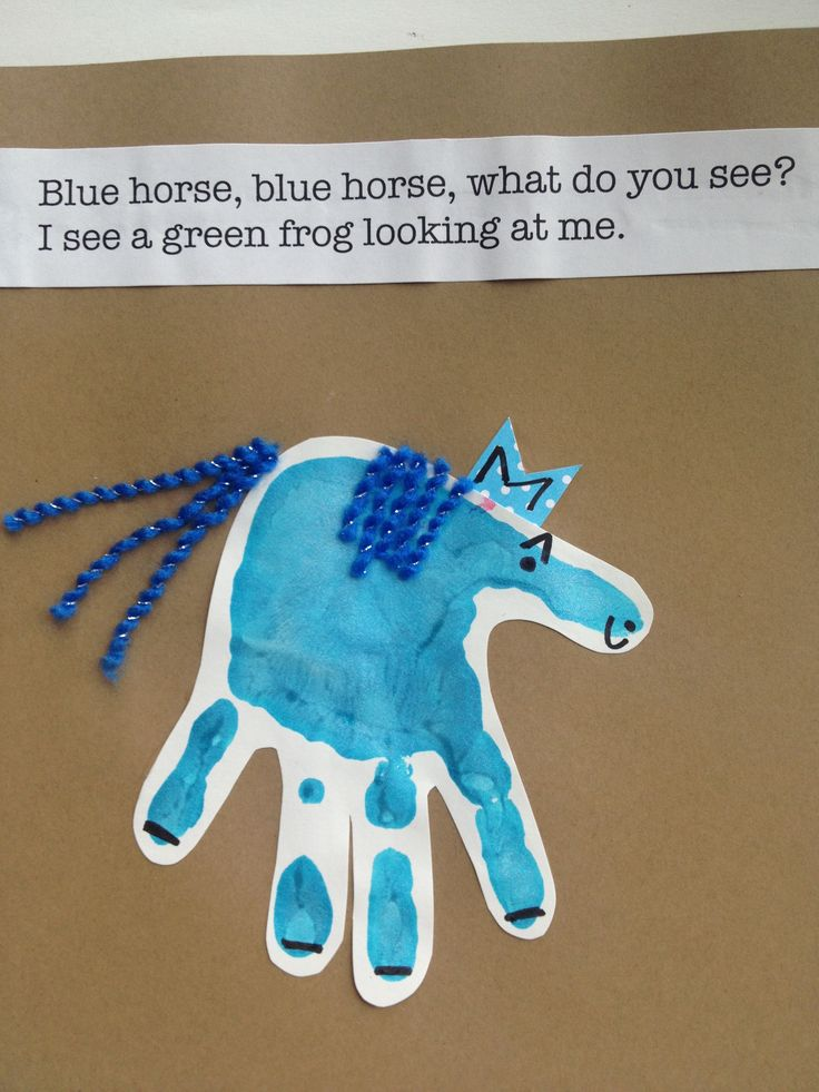 blue horse handprint art