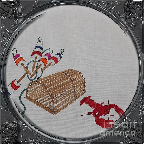 Lobster Pot and Buoys - Porthole Vignette by Barbara Griffin. This vintage Newfoundland scene of lobster fishing tools is a drawing on fabric of a wooden lobster pot, colorful lobster buoys and a red cooked lobster.