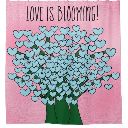 LOVE IS BLOOMING Cute Blue Hearts Trees Pink Shower Curtain - home decor design art diy cyo custom