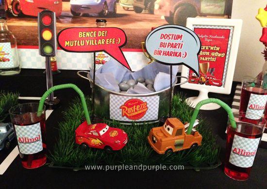Şimşek McQueen temalı 4 yaş doğum günü partisi | Konuşma Balonları | Lightning McQueen Birthday Party | Purple & Purple