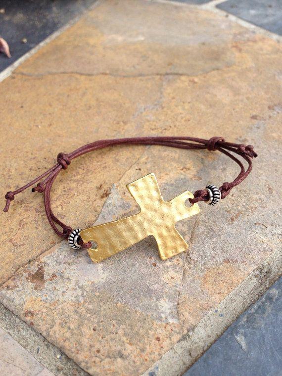 Gold Plated Sideways Cross Bracelet by EastVillageJewelry on Etsy, $30.00 NEW! On www.eastvillagejewelry.etsy.com