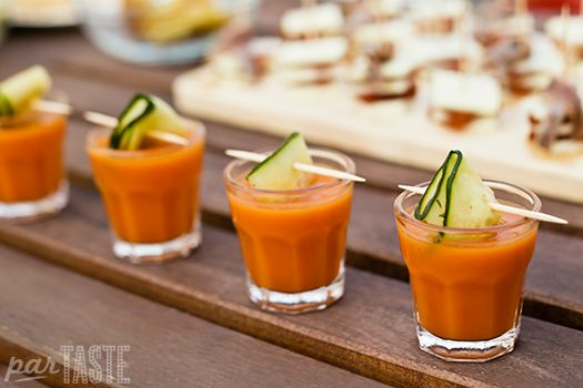 Gazpacho Shooters with Cucumber Ribbons - Spanish Recipes by ParTASTE