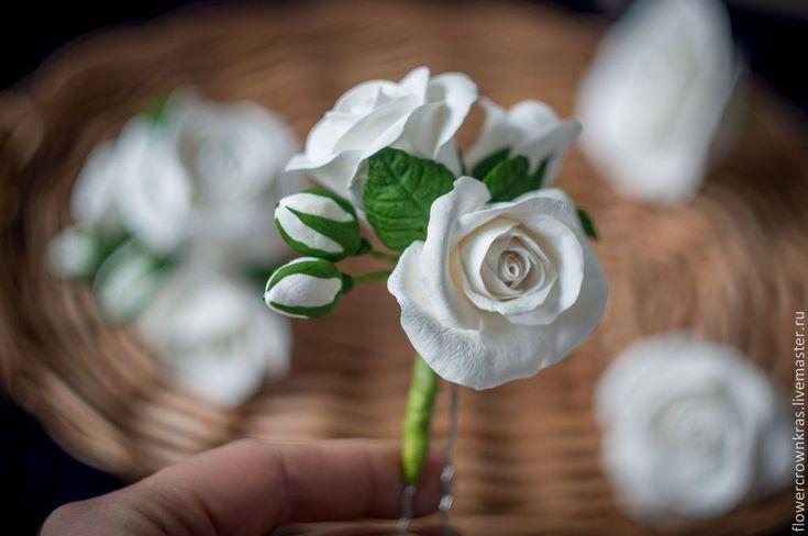 """Купить Шпильки для волос """"Розы"""" - белый, роза, белые розы, для свадьбы, невесте, шпильки невесте"""
