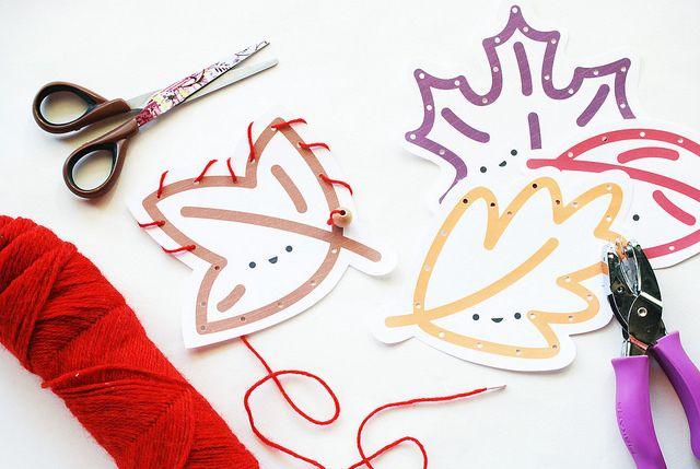Wild Olive: Printable leaf sewing cards
