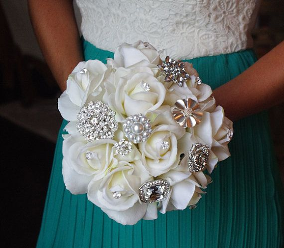 Silk Brooch Wedding Bouquet - Natural Touch Roses and Brooch Jewel Bride Bouquet - Rhinestones on Etsy, $115.00