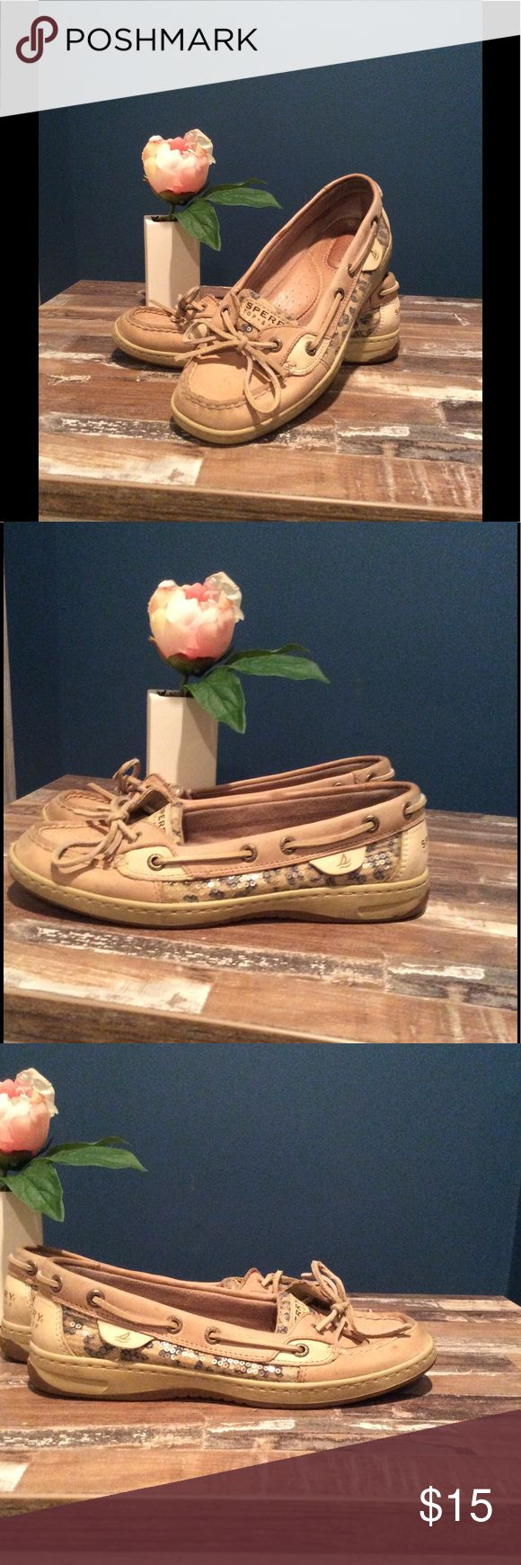 Sperry Angelfish Sequin Leopard Print Boat Shoes💗 Used Sperry Angelfish boat shoes size 7! Leopard print pattern with clear sequins. Visible signs of wear inside and outside as shown in pictures, but absolutely still wearable! Offers welcome- bundle and save more! Sperry Top-Sider Shoes Flats & Loafers