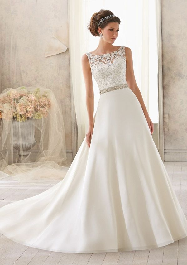 Bridal Dress From Blu By Mori Lee Dress Style 5204 Venice Lace Trimmed with Crystal Beading on Delicate Chiffon