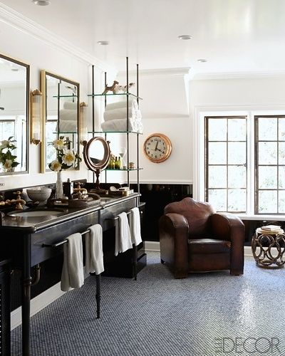 Masculine Bathroom | Elle Decor