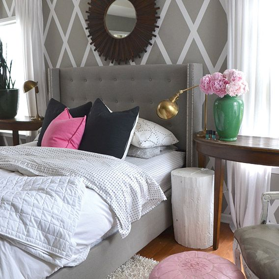 The Nester's house on Oprah.com. Fun!: Master Bedrooms Wall Decor Diy, Wall Patterns, Pink Master Bedrooms, Pink Grey Bedrooms, Pink And Grey Bedrooms Ideas, Grey Pink Bedrooms, Pink And Gray Bedrooms, Gray Wall, Accent Wall