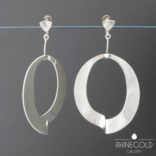 Rey Urban: Silver Screw Back Earrings, ca. 1960-70