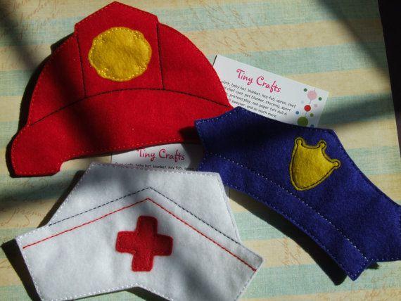 """Polizei oder Feuerwehr oder Krankenschwester flachen Filzhut für junge Mädchen 18"""" Puppe kleiden oder Halloween Kostüm so tun, als spielen Fantasie Bildung"""