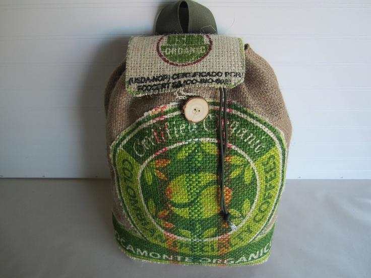 Coffee Burlap Knapsack Tote Bag