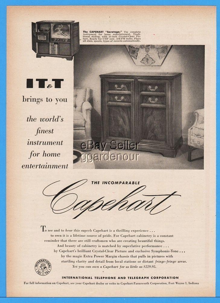 1952 IT&T Capehart Farnsworth Saratoga Television Console TV Turntable Stereo Ad  | eBay