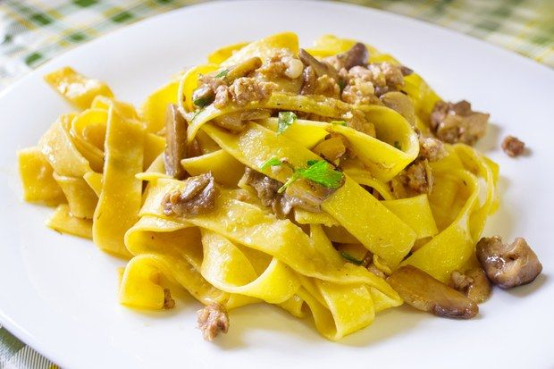 """""""I used to go to central New Jersey frequently on business and always made time to stop at Eccoqui, an Italian restaurant in Bernardsville,"""" writes Bobbi Reed of Denver, Colorado. """"Since I no longer travel to that area, I miss the restaurant — and especially the pappardelle con salsiccia.""""         Try any of your favorite pasta shapes with this sauce. Pappardelle or mafaldine — broad, flat noodles with rippled edges — work particularly well."""