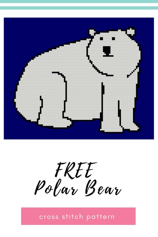 Free cross stitch Polar bear pattern - How cute is this guy? I love using polar bear and penguin images in my Holiday decorating, not sure how much they have to do with Christmas, but they definitely fit with the weather we are having.