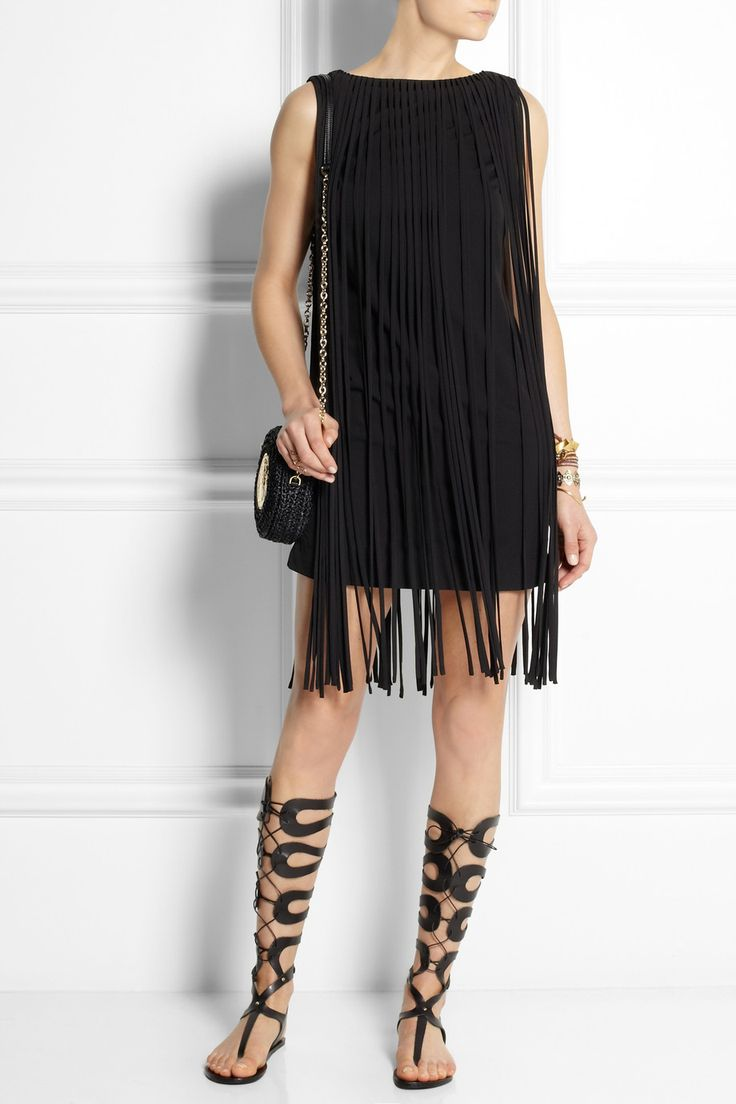 Kate Moss for Topshop Fringed jersey mini dress